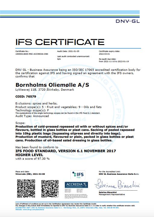 IFS Certificate Bornholms Oliemølle A/S Lehnsgaard